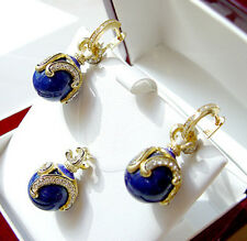 SALE ! OUTSTANDING EGG PENDANT & EARRINGS SET STERLING SILVER 925 GENUINE LAPIS