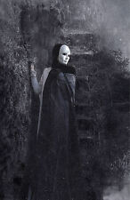 Framed Print - Grainy Gothic Masked Woman Wearing a Black Cloak (Picture