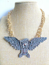 Silver Crystal Glass Eagle Chunky Gold Chain Bling Hip Hop Necklace