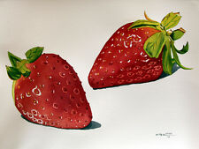 Red Strawberry, Fruit, Original Watercolor Painting, Signed, Art Deco