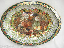 Vintage Daher Metal Tin Oval Tray Green Gold Floral Fruit Decorated Ware England