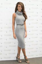 Lipsy Michelle Keegan New Knitted Size 16 Bodycon Grey Jumper Midi Dress