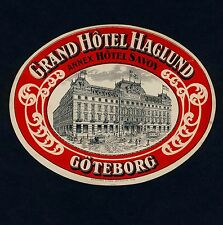Grand Hotel Haglund GÖTEBORG Sweden Schweden * Old Luggage Label Kofferaufkleber