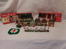 Wooden village 5 Pieces + Noel Candle Train in 2 Tins tree ornament Santa +