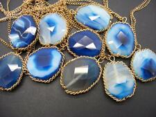 "$18 Carole Faceted Agate Stone Pendant Necklace Blue/White Goldtone 33"" Long"