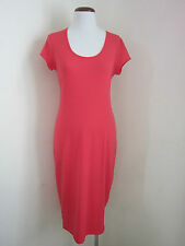 Temt. NEW Size 14 Casual Solid orange stretch bodycon dress mid calf