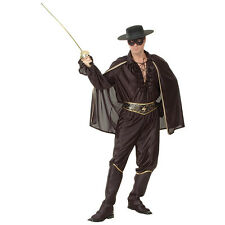 ADULT ONE SIZE BANDIT MUSKETEER BLACK OUTFIT LEGEND OF ZORRO FANCY DRESS