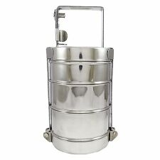 3 Tier Stainless Steel Lunch Box Food Container Indian Tiffin Round Carrier Set
