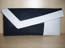 WHITE & NAVY BLUE asymmetrical faux leather clutch bag.  Handmade in the UK.