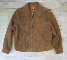 The Territory Ahead Small Brown Suede Leather Full Zip Jacket Barn Work Coat SM
