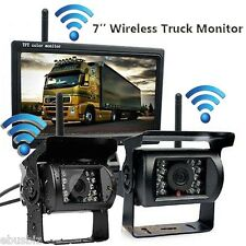 "2 Wireless Rear View IR Back up Camera Night Vision Kit+7"" Monitor for RV Truck"