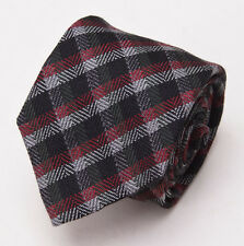 NWT $235 BATTISTI NAPOLI Black-Burgundy-Gray Check Wool-Silk Tie Handmade