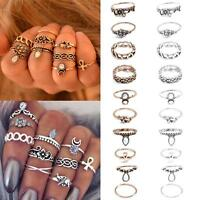 10Pcs Boho Women Crown Flower Crystal Knuckle Midi Mid Finger Tip Stacking Rings