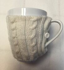Coffee Mug with Sweater - Porcelain Cup and Knitted Warmer Sleeve w/Button