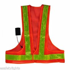 SV16L SAFETY VEST RED LED LIME REFLECTIVE STRIPES SAFETY FLASHING LIGHT TRAFFIC