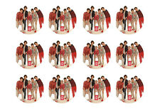 "ONE DIRECTION CUPCAKE TOPPERS 12 x 2"" CIRCLE EDIBLE ICING PARTY DECORATION IMAGE"
