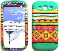 ROCKER SILICONE RUBBER+COVER CASE SKIN SAMSUNG GALAXY S3 COLORFUL AZTEC/TEAL