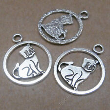 20pc Charms Cute Cat Animal Pendant Beads Crafts Tibetan Silver Wholesale S597T