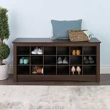 Shoe Storage Cubby Bench Rack Seat Hallway Entry Kitchen Organizer Cubbie Brown