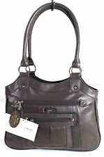 Large Ladies Women Two Strap Lorenz Real Patch Leather Shoulder Bag Handbag