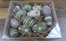 DECORATED WOODEN EGGS PACK OF 12 PRIMITIVES BY KATHY SPRING EASTER CRAFTS DECOR