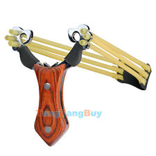 High Power Slingshot Wood Handle Quality Steel Pro Hunting Sling Catapult New