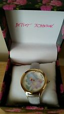 BETSEY JOHNSON WOMEN'S FLOWER Gold gray band WATCH BJ00479-08 NWT $95