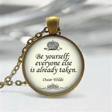 Vintage Quote Cabochon Glass Dome Bronze Pendant Chain Necklace n#07