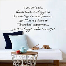 IF YOU DON'T ASK Quote Wall Sticker Inspirational Saying Wall Decal Home Decor
