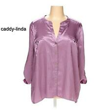 NEW DANA BUCHMAN 3X PURPLE 54-56 BUST SATIN POLY BLOUSE BUTTON FRONT TOP ASIAN