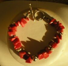 Sterling Silver  And Red Chunkie Coral Beads Bracelet