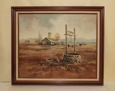 VINTAGE LANDSCAPE OIL PAINTING ON CANVAS RUSTIC RANCH & WATER WELL ARTIST PETERS