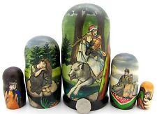 Muñecas-caja rusas 5 Babushka Ivan Zarevich Lobo Gris Alionushka VASNETSOV