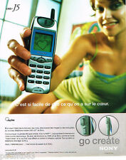 PUBLICITE ADVERTISING 075  2001  SONY  2  téléphonie mobile GO CREATE  CMD-J5