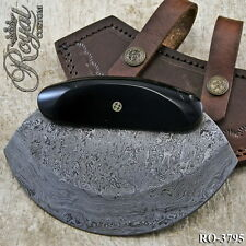 "4"" ROYAL CUSTOM HAND MADE DAMASCUS ULU KNIFE - MOSAIC PIN - RO-3795"