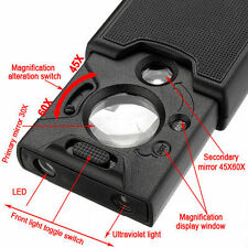 30x 45x 60x Led UV Light Jeweller Magnifying Glass Magnifier Loupe Len New Tiny