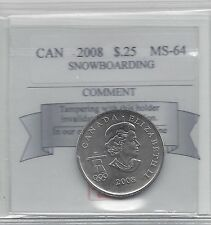 **2008 Snowboarding**, Coin Mart Graded Canadian, 25 Cent, **MS-64**