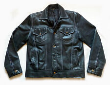 SUPERB VINTAGE BLACK LEATHER TRUCKER MOTORCYCLE JACKET - LARGE XL  - BIKER VGC
