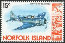 DOUGLAS SBD-5 DAUNTLESS Aircraft Mint Stamp (1980 Norfolk Island)