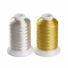 SIMTHREAD 150D/2 Metallic Embroidery Machine Thread - 2 Colors, 550 Yards Each