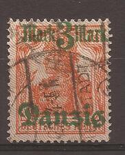 1920 DANZICA DANZIG EX GERMANIA 3 MARK SU 7,5 p. CON SOPRASTAMPA IN VARIETA'