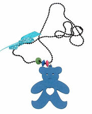 Kids Jewellery long black ball chain necklace large wooden teddy pendant Blue