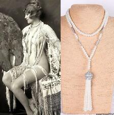 Newest Bridal 1920s Great Gatsby Swarovski Crystal Long Pearl Necklace Jewellery