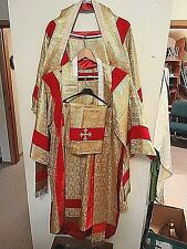 Catholic French Christmas Altar gold silk vestment Dalmatic and stoles