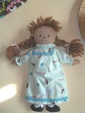 "Handcrafted Tan Skin Braided Hair Homemade Clothes Soft 11"" Doll"
