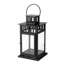 """IKEA Borrby Lantern Candle Holder For Block Candle, Black 6"""" Height"""