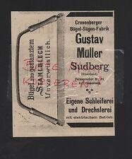 SUDBERG-CRONENBERG, Anzeige 1909, Gustav Müller Bügel-Sägen-Fabrik