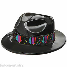 3 Adult Cheery Balloons Black 40! 40th Birthday Fancy Dress Gangster Party Hats
