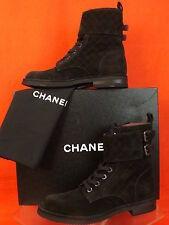 14B NIB CHANEL BLACK QUILTED SUEDE LACE UP CC BELTED SHORT COMBAT BOOTS 40.5