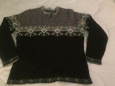 Woolrich Women's Large Sweater Crew Neck Black Red White Snowflake Pattern Ski